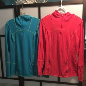 Two athletic fitted running hoodies size S